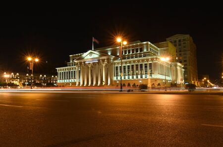 The building of the Supreme Court of the Republic of Azerbaijan on Yusif Safarov Street refreshed with artificial light in the evening. Baku.