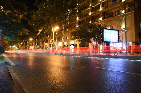 28-06-2019.Baku.Azerbaijan.Light on the night Uzeyir Hacibeyov street.