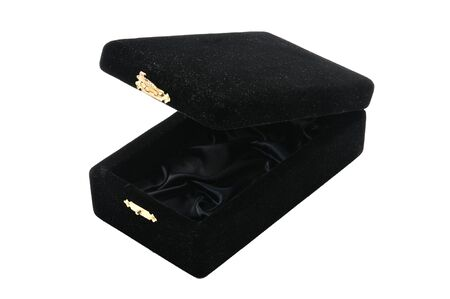 Black velvet jewelry box on an isolated white background
