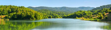 Landscape panorama with forest, mountains and lake.Azerbaijan.Caucasus