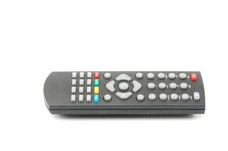 Remote control for digital TV tuners, music players, and disk drives on an isolated white background Stock fotó