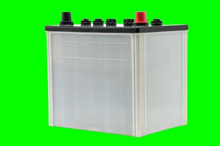 Car battery on an isolated white background Stock Photo