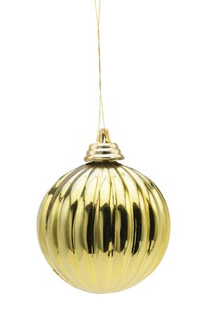 Golden ball Christmas and New Year toy on an isolated white background