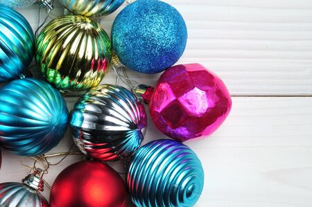 Christmas and New Year balls of shiny color on an isolated white background Banco de Imagens