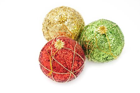 Christmas and New Year ball of shiny color on an isolated white background
