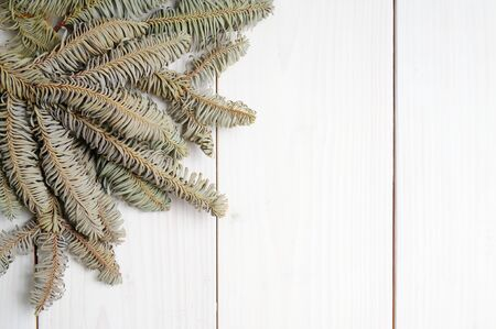 Christmas white wooden patterned background with Christmas tree branches Stok Fotoğraf