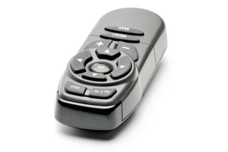Remote control for digital TV tuners, music players, navigator, and disk drives on an isolated white background