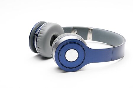Modern headphones for listening to sound and music on an isolated white background