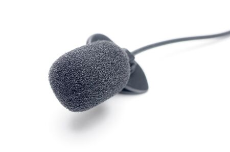 Lavalier microphone for correspondents on an isolated white background