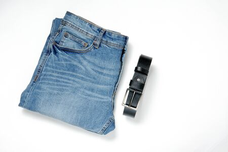 Denim pants in blue on an isolated background