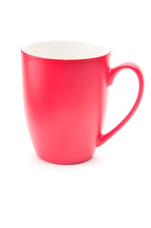 Red cup for tea, coffee and cappuccino on an isolated white background