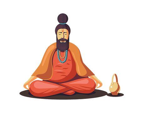 Hindu Old Sadhu meditating isolated