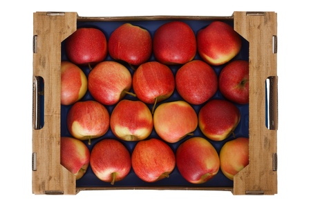 Box of lovely red apples shot from above isolated on white  photo