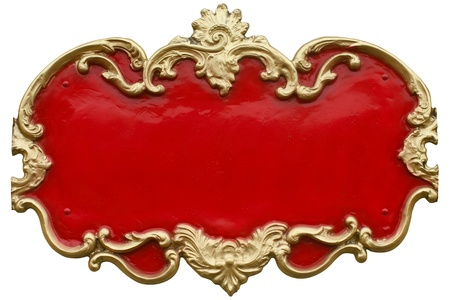 Cheap looking Baroque gold ornamental frame around a gaudy red fill  Ready for your text