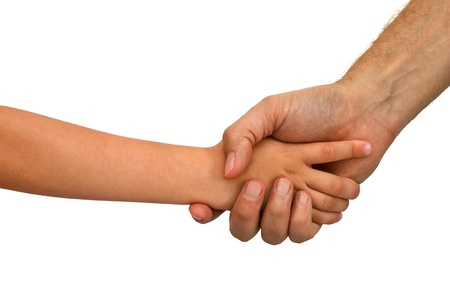 Older man shaking hands with a young boy isolated over a white background  Only arms visible  photo