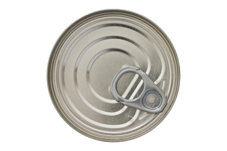 hygenic: Single closed tin can shot from above isolated on white Stock Photo