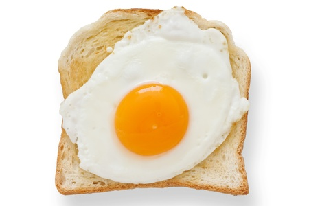 Fried egg on white toast from above  photo
