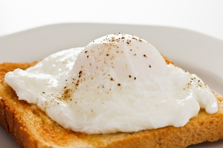 poached: Soft poached egg on toast