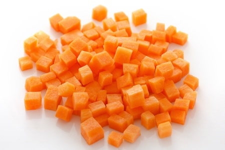 diced: Diced carrots on white