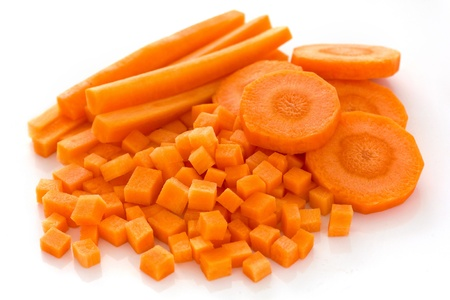 Carrots sliced and diced