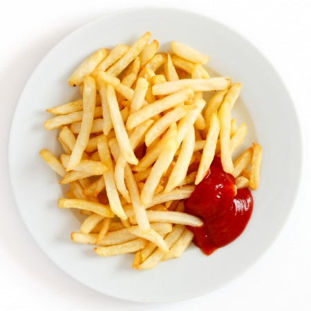 french fried potato: Crispy French fries with ketchup ready to eat