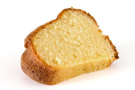 Schwamm, Madeira oder Pfund Kuchen auf weiß