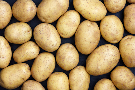 arranged: Many arranged potatoes from above.