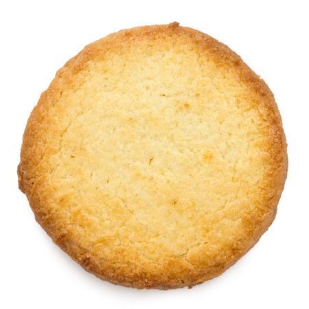 단일 전통적인 라운드 버터 비스킷입니다. 위에서.