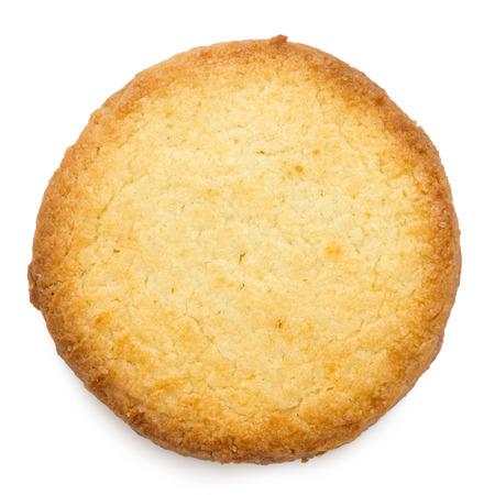 Single traditional round butter biscuit. From above.