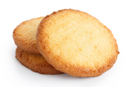 biscuit: Three butter biscuits on white.
