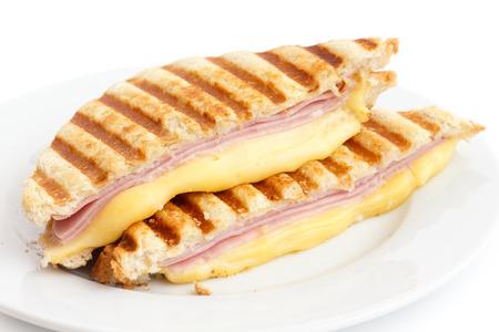 jamon y queso: Jam�n tostado y queso panini. Foto de archivo