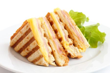 jamon y queso: Jamón tostado y queso panini. Foto de archivo