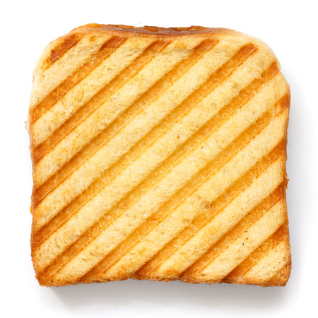 sandwich bread: Toasted sandwich with grill marks from above.