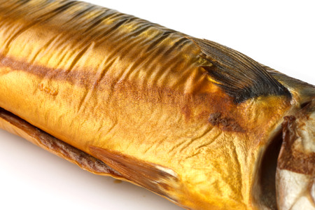 gutted: Whole smoked mackerel, detail of mid section.