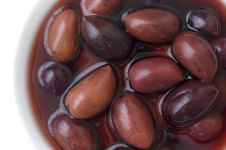 kalamata: Bowl of Kalamata Greek olives. Detail from above.