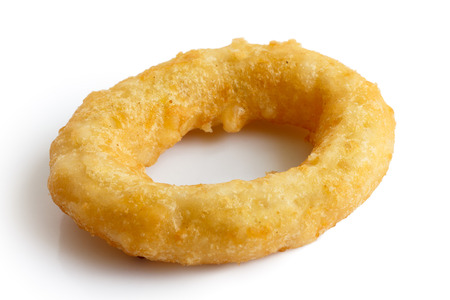 onion rings: Single deep fried onion or calamari ring isolated on white.