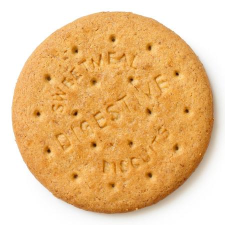위에서 격리하는 sweetmeal 소화 비스킷 라운드. 스톡 콘텐츠