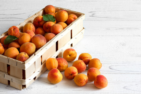 blush: Wood box of whole orange apricots with red blush on rustic white wood. Space for text.