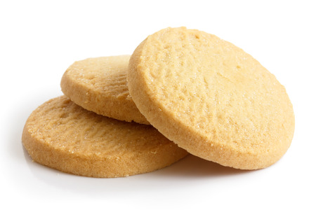 Three round shortbread biscuits isolated on white. Stockfoto