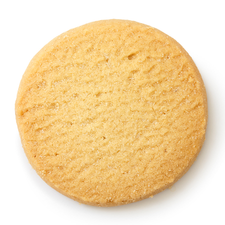 cookie on white: Single round shortbread biscuit isolated on white from above. Stock Photo