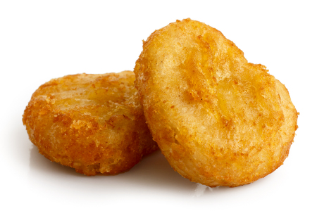 battered: Two golden deep-fried battered chicken nuggets isolated on white in perspective. Stock Photo