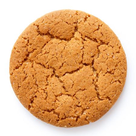 galletas de jengibre: Sola galleta de jengibre ronda aislado en blanco desde arriba.