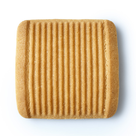 ridges: Single square Italian shortbread honey and milk biscuit with ridges, isolated on white from above.