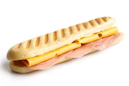 toasted: Whole cheese and ham toasted panini. Isolated on white.