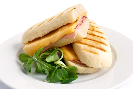 Cut cheese and ham toasted panini melt. On white plate with green salad garnish.