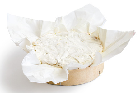 mould: White mould cheese in wrapping isolated white. Stock Photo