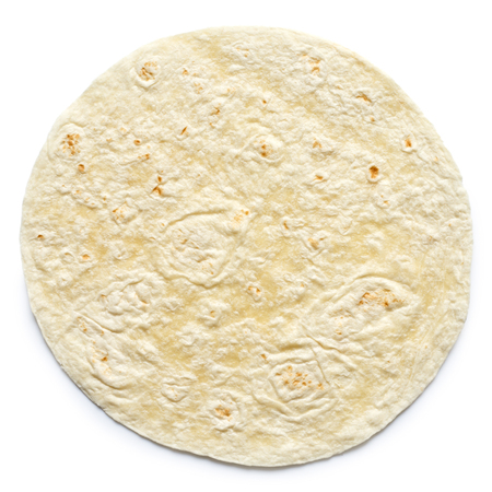 tortilla wrap: Plain tortilla wrap isolated on white from above.