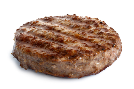 Single grilled hamburger patty isolated on white.