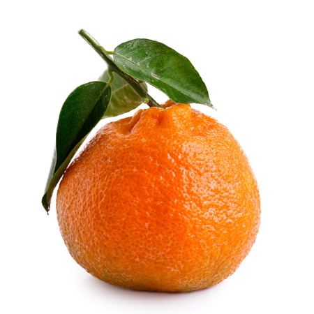 A single whole mandarin with a stem and leaves isolated on white. Stock Photo