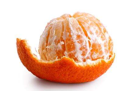 A half peeled mandarin isolated on white.